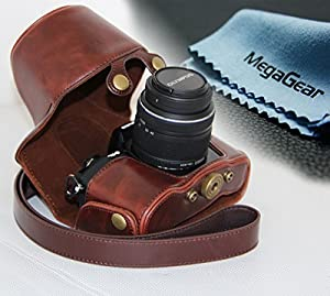 """MegaGear """"Ever Ready"""" Protective Leather Camera Case, Bag for Olympus OM-D E-M10 with 14-42mm (Dark Brown)"""