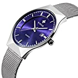 Tamlee Fashion Top Luxury Brand Men Date Quartz Watch Steel Mesh Strap Ultra Thin Dial Clock (Blue)