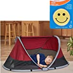KidCo PeaPod Portable Travel Bed - Cranberry with Happy Face Night Light