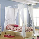 Metal Twin-Size Canopy Bed with Curtains, White