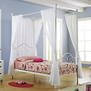 metal twin size canopy bed with curtains white childrens bed frames. Black Bedroom Furniture Sets. Home Design Ideas