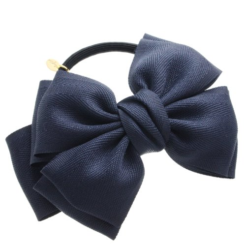 [Vantine] VINGTAINE Lady twin Ribbon Bobbles hair accessories simple H-462-NY Navy