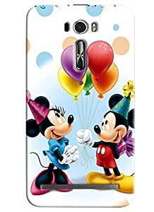 Blue Throat Micky And Mini Mouse Celebrating Printed Designer Back Cover For Asus Zenfone 2 ZE601KL