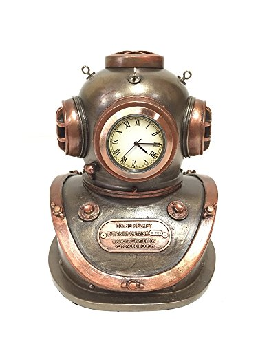 Diving Helmet Clock Nautical Statue Sculpture
