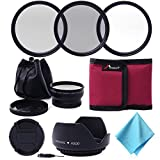 52mm 0.45x Wide Angle & Macro Lens + Filter Kit (UV-CPL-ND4) + Lens Hood + Lens Cap + Filter Bag + Cloth / Essential Lens Set UV CPL ND4 Filter Kit 52mm For Any camera with 52mm lens thread / Nikon D7100 D7000 D5200 D5100 D5000 D3200 D3100 D3000 D700 D30