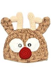 Christmas Santa's Reindeer Crochet Toddler Baby Girl Boy Hat Beanie