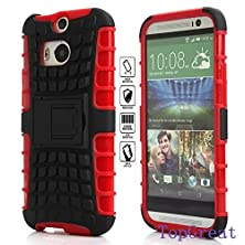 buy Htc One M8 Case,Htc M8 Cover Case,Topgreat/Tpu+Pc/Hybrid Rubberized/[Scratchproof] [Shock Proof] [Skidproof] Impact Resistant Hard Shell With Kickstand [Gifts] For Htc One M8 (Red)