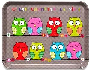 FoxTrot 3298LIFE Plateau Motif Chouette la Vie Mélamine 27 x 22 x 1,5 cm