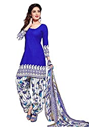 Clickedia Women's Crepe Salwar Suit Dress Material (Sweety Royal Blue White suit_Royal Blue White)