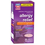 Rite Aid Allergy Relief, Fexofenadine hydrochloride tablets, 180 mg. 30 tablets