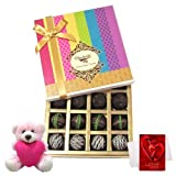 Valentine Chocholik Premium Gifts - Joy Of Dark Truffle Collection With Teddy And Love Card
