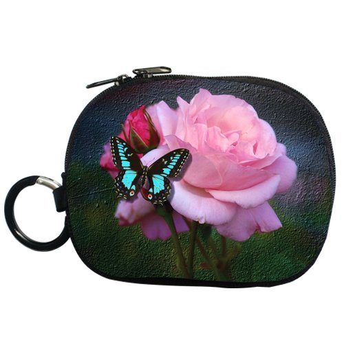 Generic Personalized Water Color Painting Colorful Butterfly And Rose For Coin Purse (Two Side) front-923644