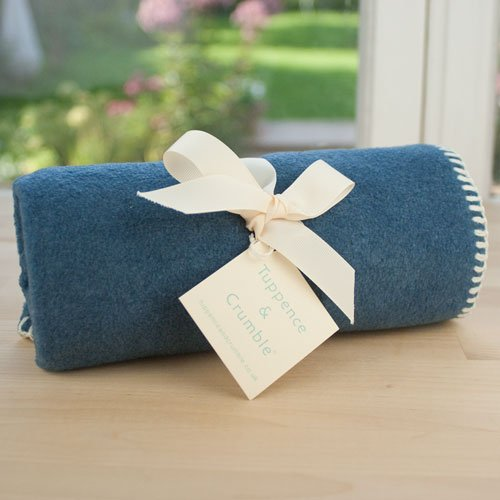 Tuppence and Crumble soft fleece baby blanket denim with cream stitching