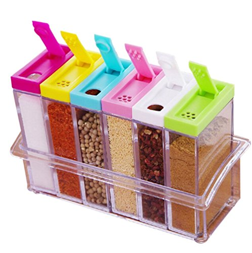 JUNGEN Combinazione scatola condimento a sei colori barattolo delle spezie bottiglia condimento cucina vaso fornisce spezie Dispenser Colore Top