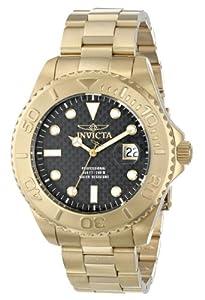 Invicta Men's 15191 Pro Diver Swiss Quartz Carbon Fiber Dial Gold-Tone Watch with Impact Case