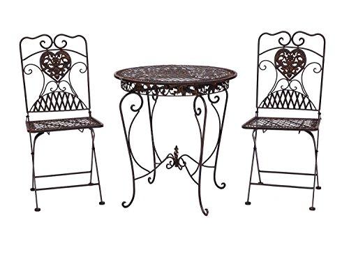 Gartentisch-2x-Stuhl-Eisen-Antik-Stil-Bistrombel-Gartenmbel-braun