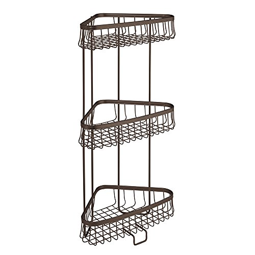 InterDesign York Lyra Free Standing Bathroom or Shower Corner Storage Shelves for Towels, Soap, Shampoo, Lotion, Accessories - 3 Tier, Bronze