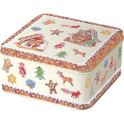 Gingerbread Village Square Cookie Tin