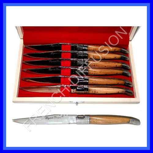 LAGUIOLE - 6 steak knives - TEAK wooden handle (exotic table cutlery/flatware - high quality - shipped from France)