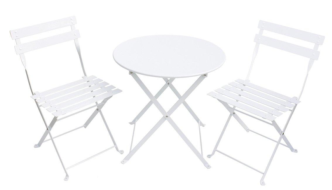 Kinder Gartenmöbel-Set aus Metall weiß 3 teilig online bestellen