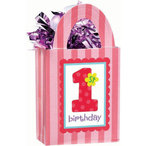 1st Birthday Girl Balloon Weight (1 per package)