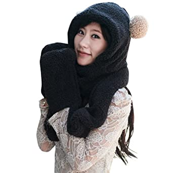 Meilaier Cute One-piece Scarves Hats Gloves Set for Women Thick Plush Winter Black