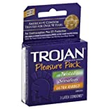 Trojan Condoms, Premium Latex, Lubricated, Pleasure Pack 3 condoms