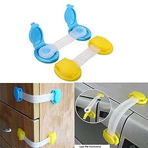 Child Proof Safety Cabinet Door Cupboard Fridge Drawer Wardrobe Lock Long Type Yellow