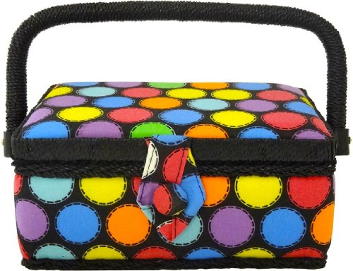 Buy Discount Home-X Polka Dot Sewing Basket with Sewing Kit Accessories
