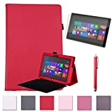 "HDE Folding Leather Folio Case & Stand for 10.6"" Microsoft Surface RT & RT 2 Tablet - Matching Red Stylus and Screen Protector Included"