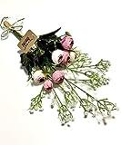 3world 欧風 バラ と かすみ草 花束 本物みたいな 造花 インテリアフラワー SW408 ピンク