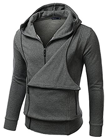 Doublju Mens hoodie Jumper with Side Zipup CHARCOAL (US-M)