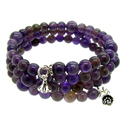 Stunning 3-Raw Wrap Around Adjustable Amethyest Bracelet with 925 Silver Charm (Gem Stone King Bead Bracelet compare prices)
