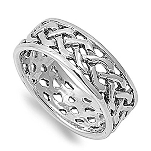 Sterling Silver Infinity Celtic Knot Mens Ring Unique Comfort Fit 925 Band 8Mm Size 10 Valentines Day Gift