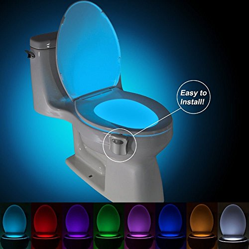 Motion Sensor Toilet Bowl Led Nightlight by Motion Bowl - Battery Operated - Energy Saving - Chioce of 8 Changing Colors (Shark Battery Operated compare prices)