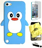 BUKIT CELL (TM) Apple iPod Touch 5 Penguin Silicone Case (SKY BLUE) + BUKIT CELL Trademark Lint Cleaning Cloth + Screen Protector + WirelessGeeks247 METALLIC Touch Screen STYLUS PEN with Anti Dust Plug