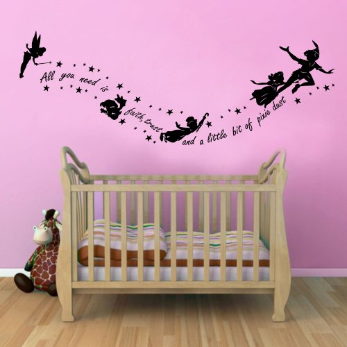 Peter Pan Second Star To The Right Childrens Wall Sticker Mural For Kids Bedroom (Black, 100Cm X 55Cm) front-770752