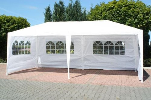 Waterproof 3m x 6m PE Gazebo Marquee Awning Party Tent Canopy White 120g Polyster Power Coated Steel Frame