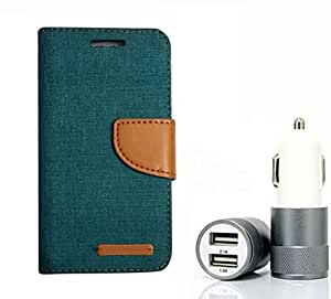 Aart Fancy Wallet Dairy Jeans Flip Case Cover for Blackberry9300 (Green) + Dual USB Port Car Charger with Smartest & Fastest Technology by Aart Store.