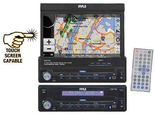 Pyle PLBT74G 7-Inch Single DIN In-Dash Motorized Touch Screen T Feet/LCD Monitor with DVD/CD/MP4/USB/SD/AM/FM/RDS/Bluetooth and  Screen Dial Pad Built-In GPS/TTS with USA/Canada and  Mexico Maps