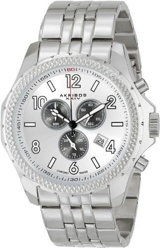 Akribos XXIV Men's AK659SS Ultimate Swiss Quartz Chronograph Silver-tone Dial Stainless Steel Bracelet Watch