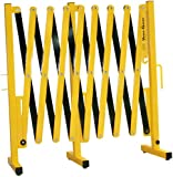 """Versa-Guard VG-1015 Aluminum/Steel Expandable Portable Safety Barricade with Stationary Feet, 37"""" Height, 20"""" to 182"""" Expanded Width, Yellow/Black"""