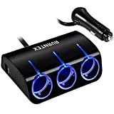 Car Charger, AVANTEK R41 3-Socket Cigarette Lighter Power Adapter DC Outlet Splitter Dual USB Car Charger for iPhone 6 / 6 Plus, iPad Air 2 / mini 3, Galaxy S6 / S6 Edge and More (Black)