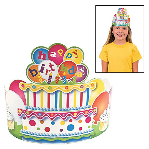 "Birthday Crowns - 24"" - (12 Pack) Birthday Cake with Candles and Balloons"