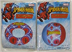 Spiderman Beach Ball And Pool Swim Ring
