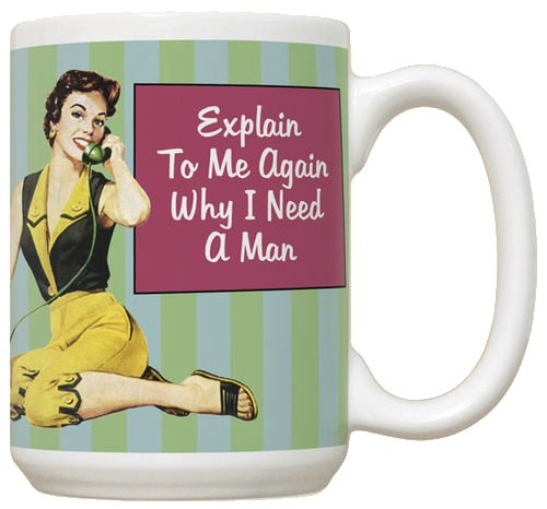 Explain To Me Why I Need A Man Mug - Large White Coffee Mug