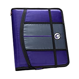 Case-it 1-Inch 3-Ring Binder, 5-Tab, 6-Pocket, Purple (SLIM-621-FN-Pur)