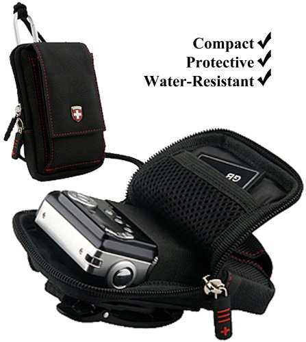 Black Swiss Protective Durable Camera Pouch With Removable Neck Strap For Nikon Coolpix AW100 / L24 / L26 / P300 / P310 / S100 / S1100pj / S1200pj / S2500 / S30 Compact Point and Shoot Photo Camera + Includes an eBigValue Determination Hand Strap