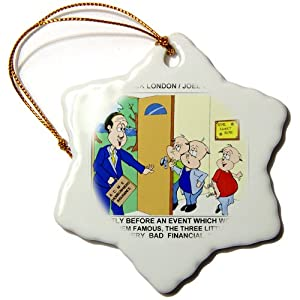 orn_1383_1 Londons Times Funny Animals Cartoons - Three Little Pigs And Homeowners Insurance - Ornaments - 3 inch Snowflake Porcelain Ornament