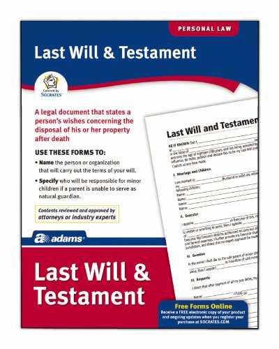 Adams Last Will & Testament Form, 8.5 x 11 Inch, White (LF235)